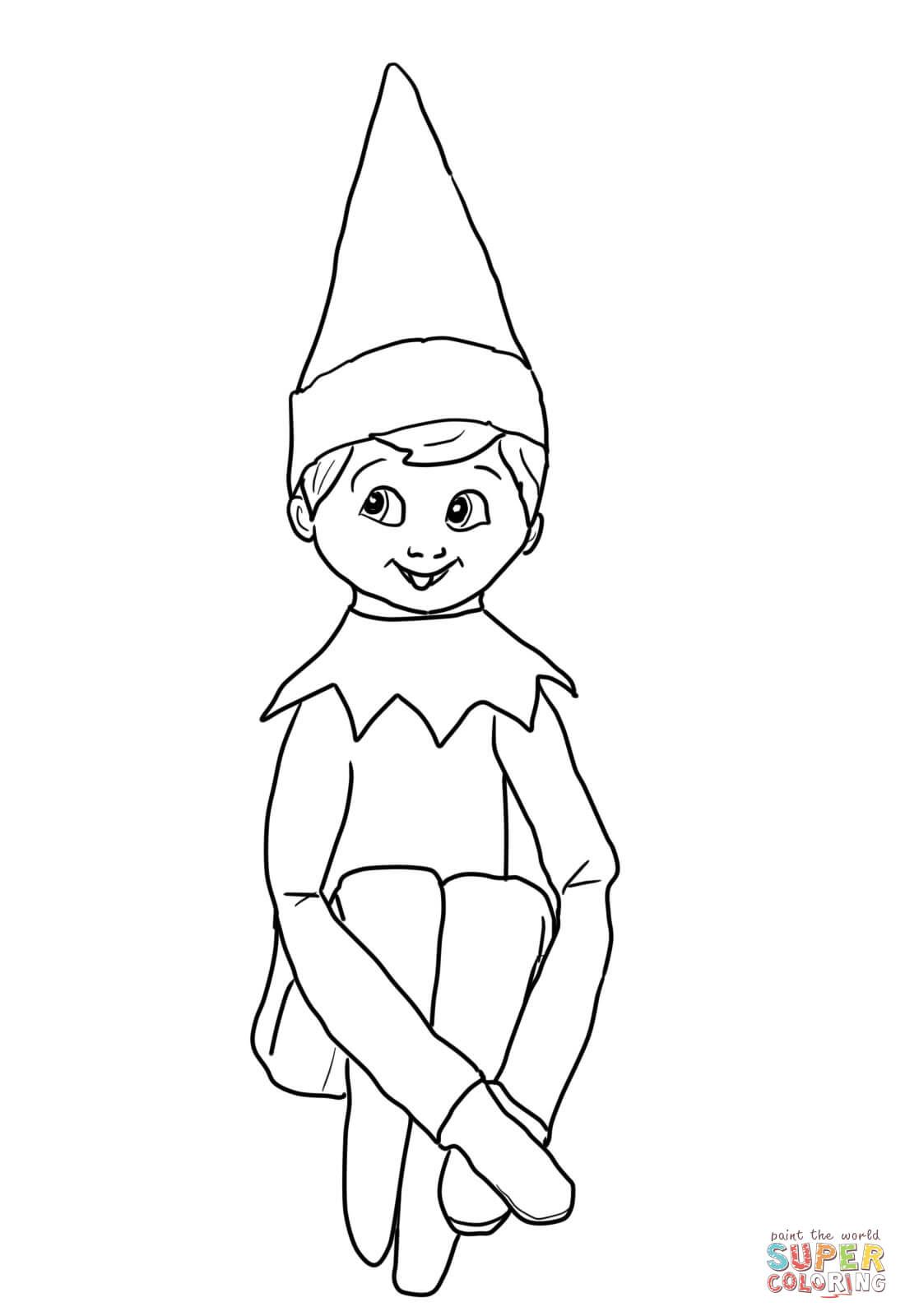 Elf Coloring Page Christmas Elf Printables Products