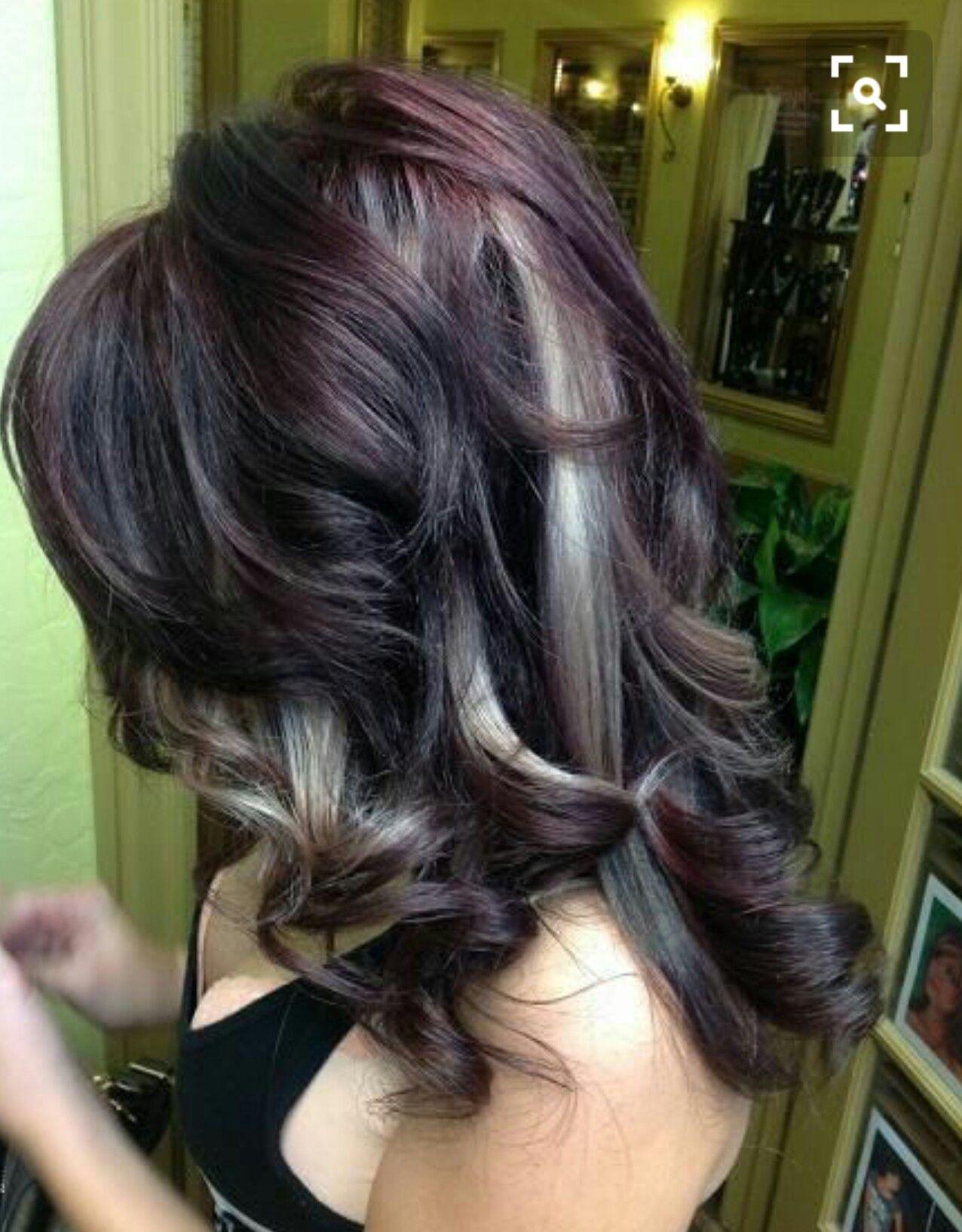 Purple hair, purple lowlights, blonde lowlights, plum ...