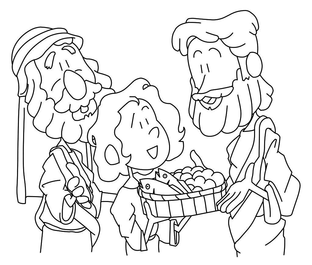 Jesus Feeds 5000 Coloring Page Free Pdf Download Bible Jesus