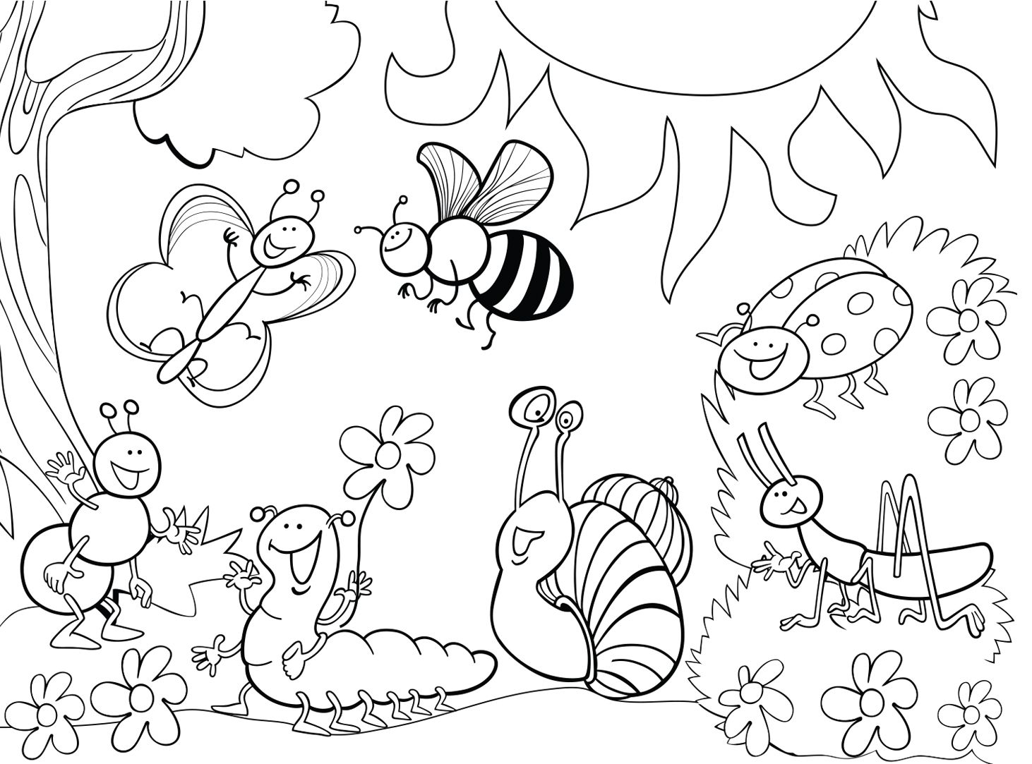 1114016 Garden Insect Coloring Page 1462×1083 Color Now