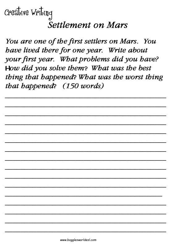 Free Creative Writing Worksheets For 3rd Grade