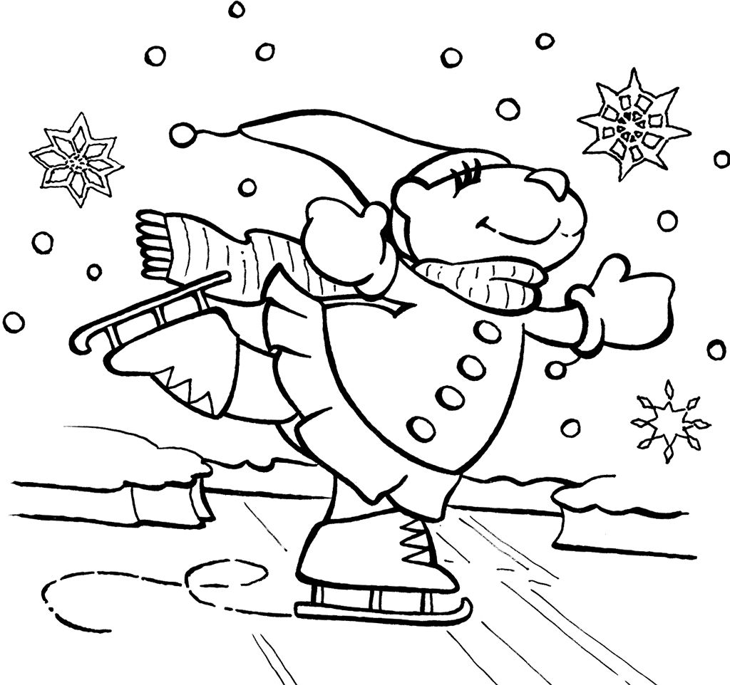 Bear Ice Skating Coloring Page Coloring Pages Pinterest Bears