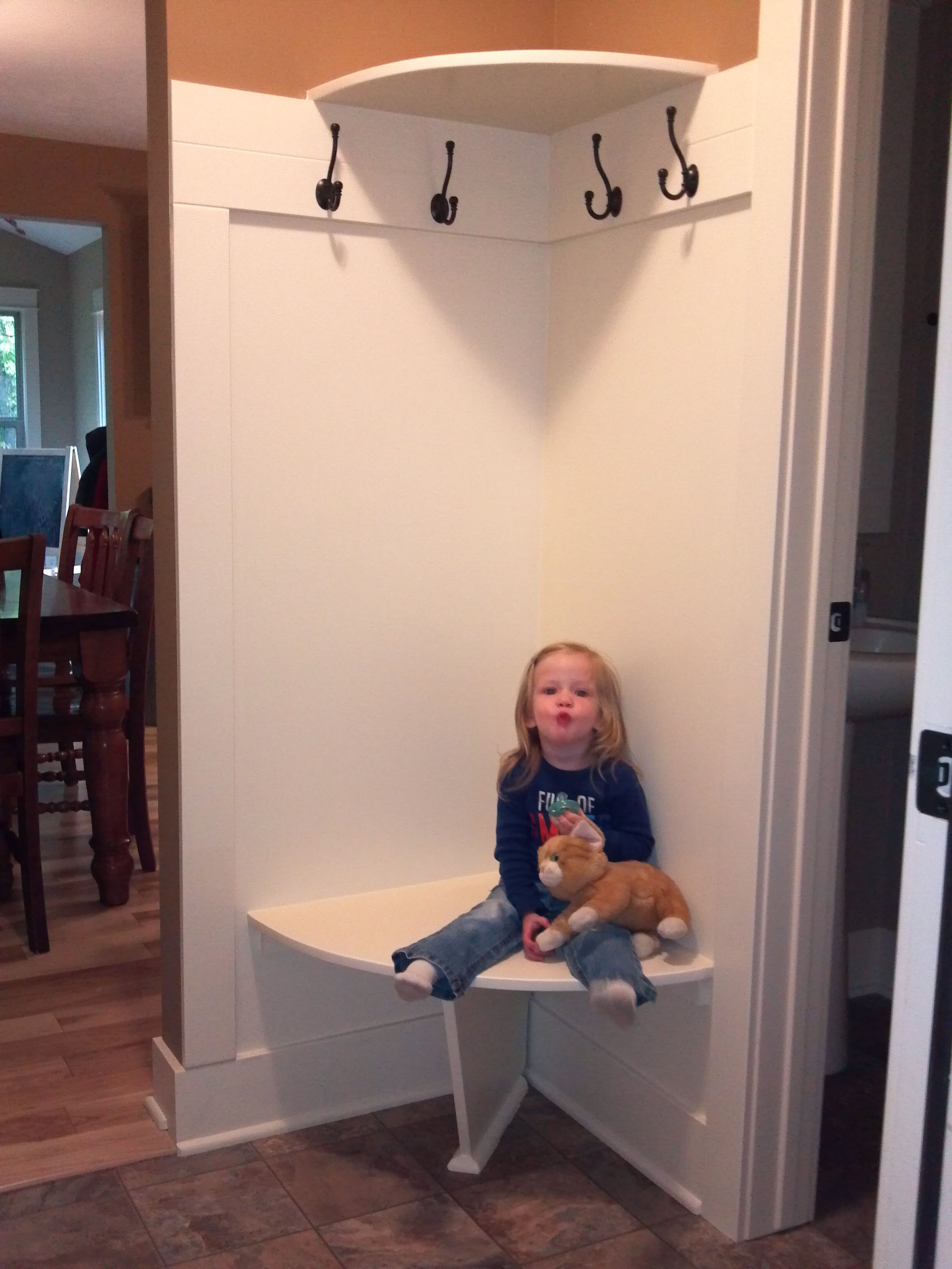 Corner Bench And Shelf For Small Mudroom For The Home