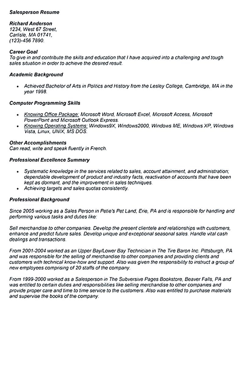 Car Salesperson Resume The Salesperson Resume Can Be A