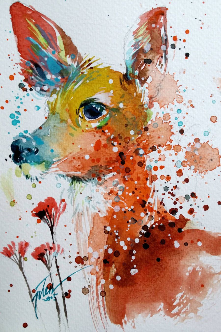 Colorful Splashed Watercolor Animals Paintings ...