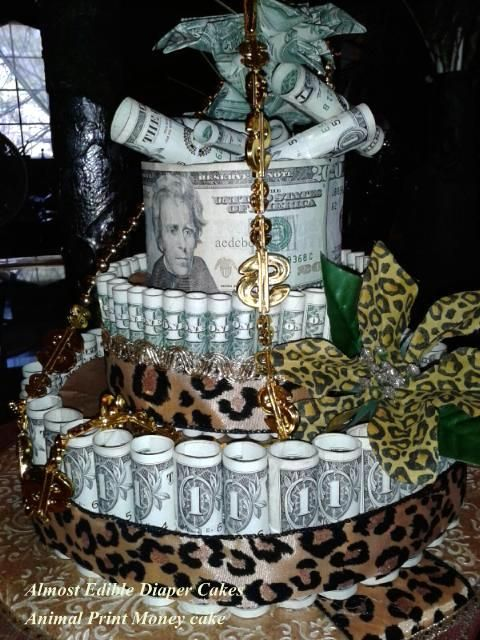 Animal Print Money Cake Almost Edible Diaper Cakes