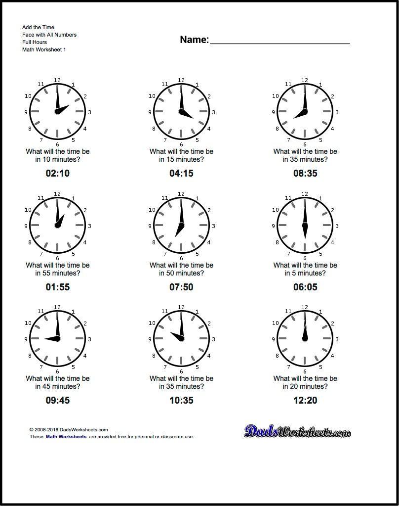 Free Pr T Ble W Ksheets Tell G N Log Clock Times T Full