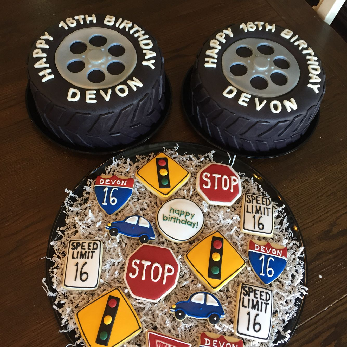 16th Birthday Tire Cakes And Road Sign Cookies My Cakes