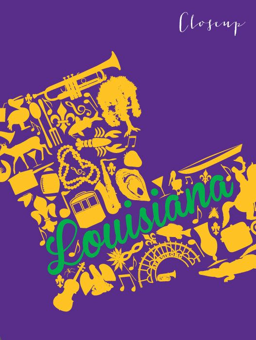 Louisiana Mardi Gras Landmark Custom State Map Art Print ...