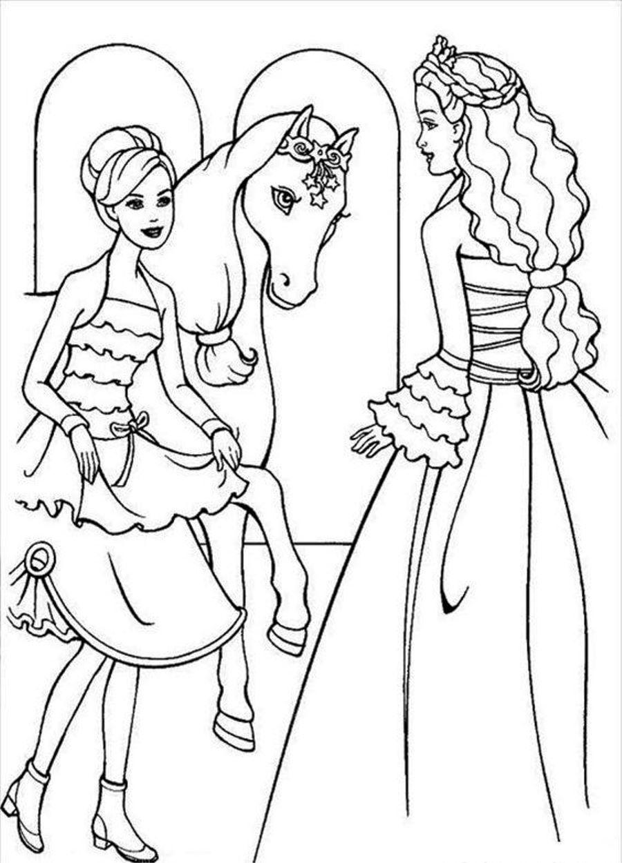 Barbie Horse Coloring Pages Coloring Pages Pinterest Barbie