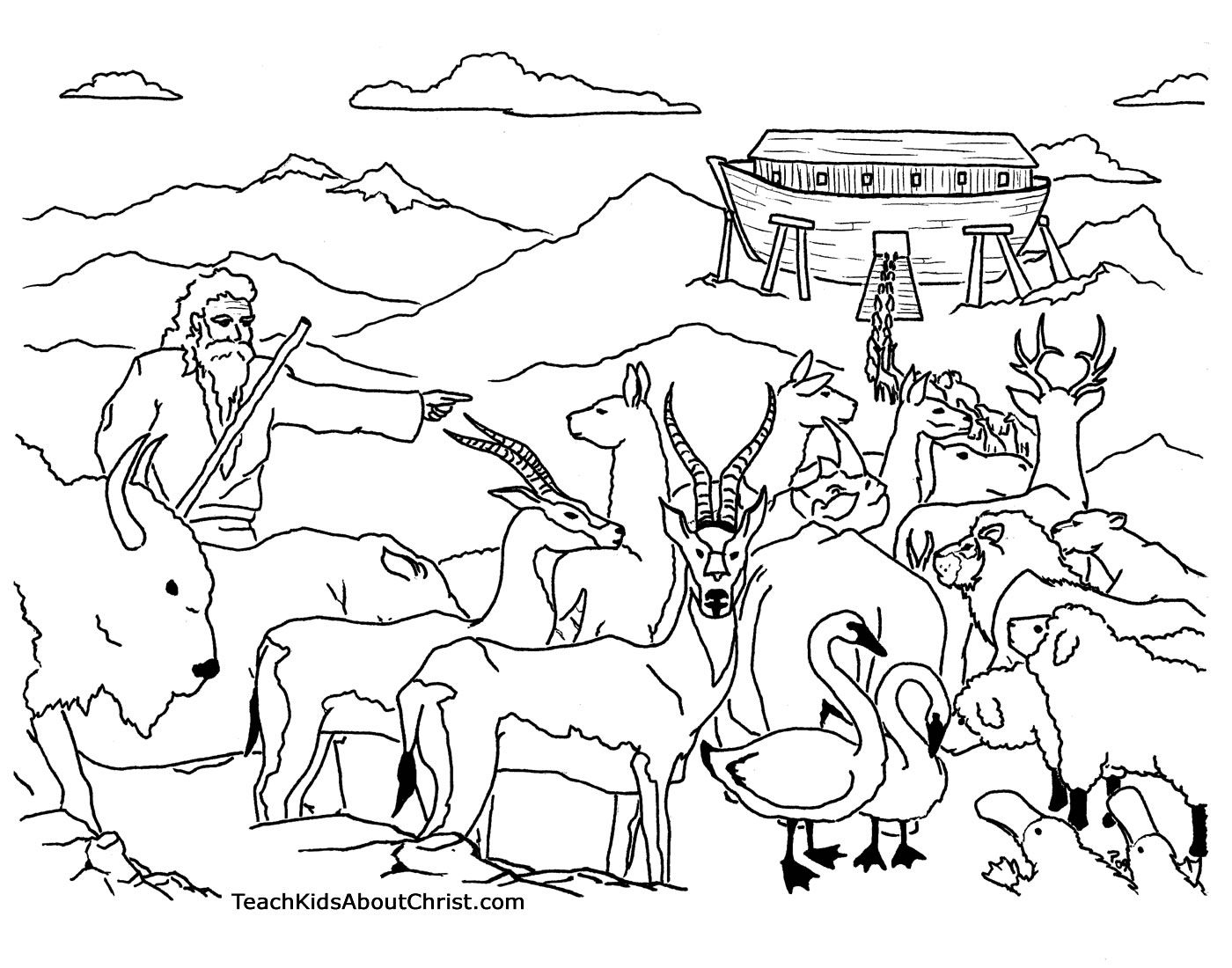 Free Coloring Pages Download Noah Ark Printable Childrens Of