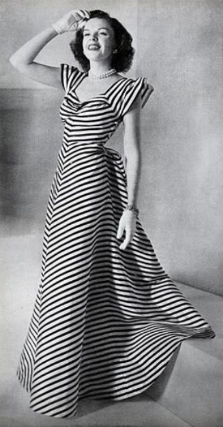 Judy Garland in VOGUE  March 15  1945  Striped Dress  2dayslook     Vintage Fashion  Judy Garland in Vogue  March Love seeing this because the  Studio promoted Judy as the girl next door and we don t get to see her too  often