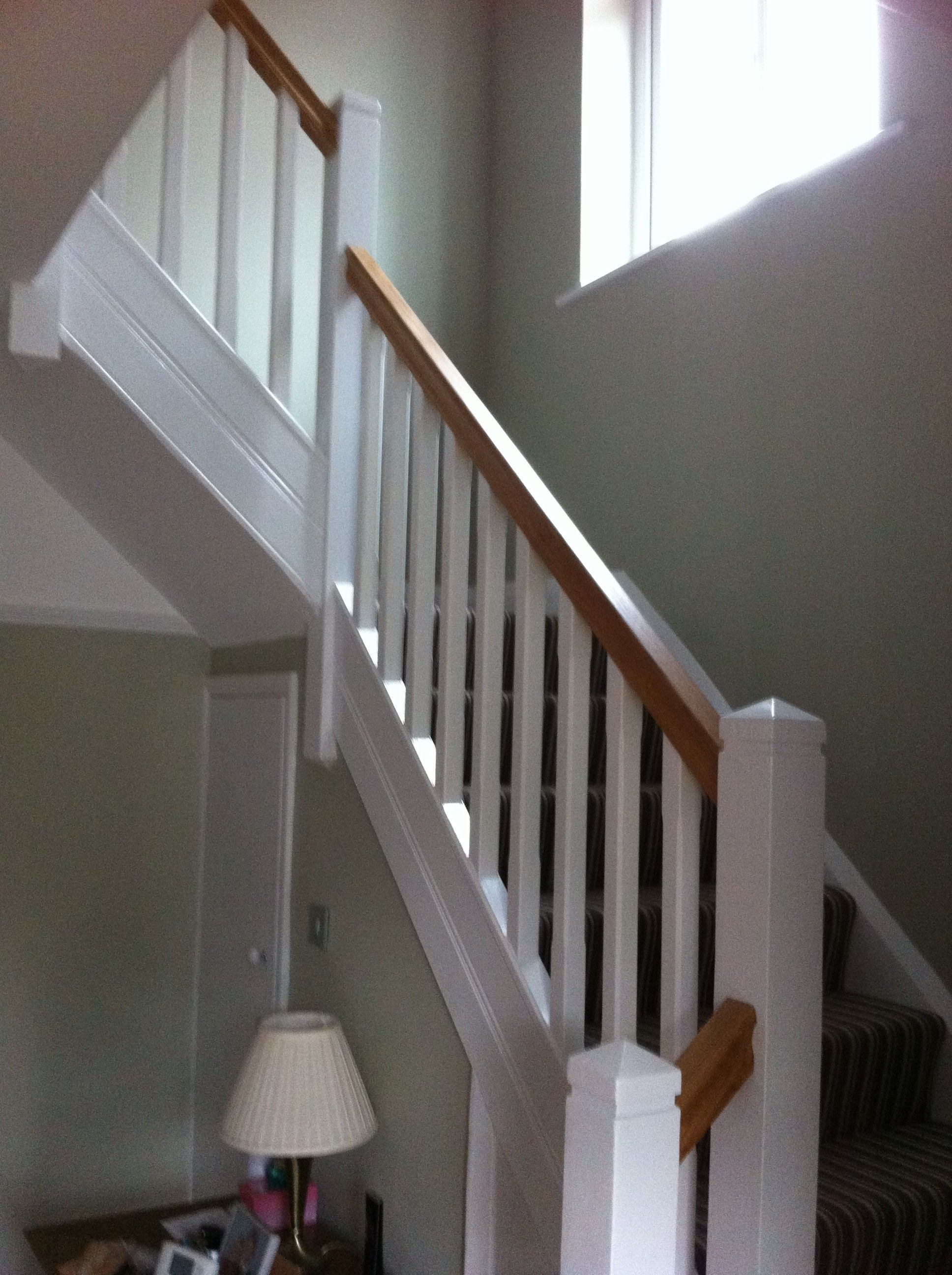 Oak Handrail With White Spindles Google Search New | White Oak Stair Railing