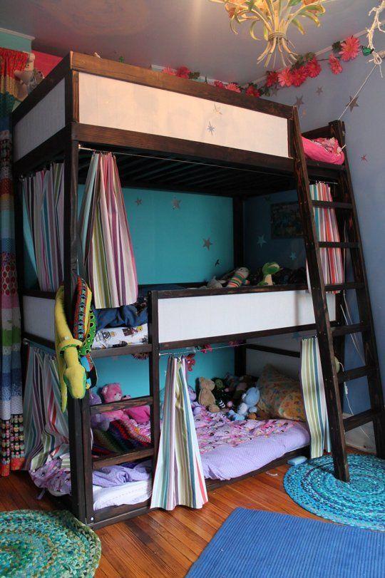 A Sky High Bunk For Three Triple Bunk Beds Ikea Kura