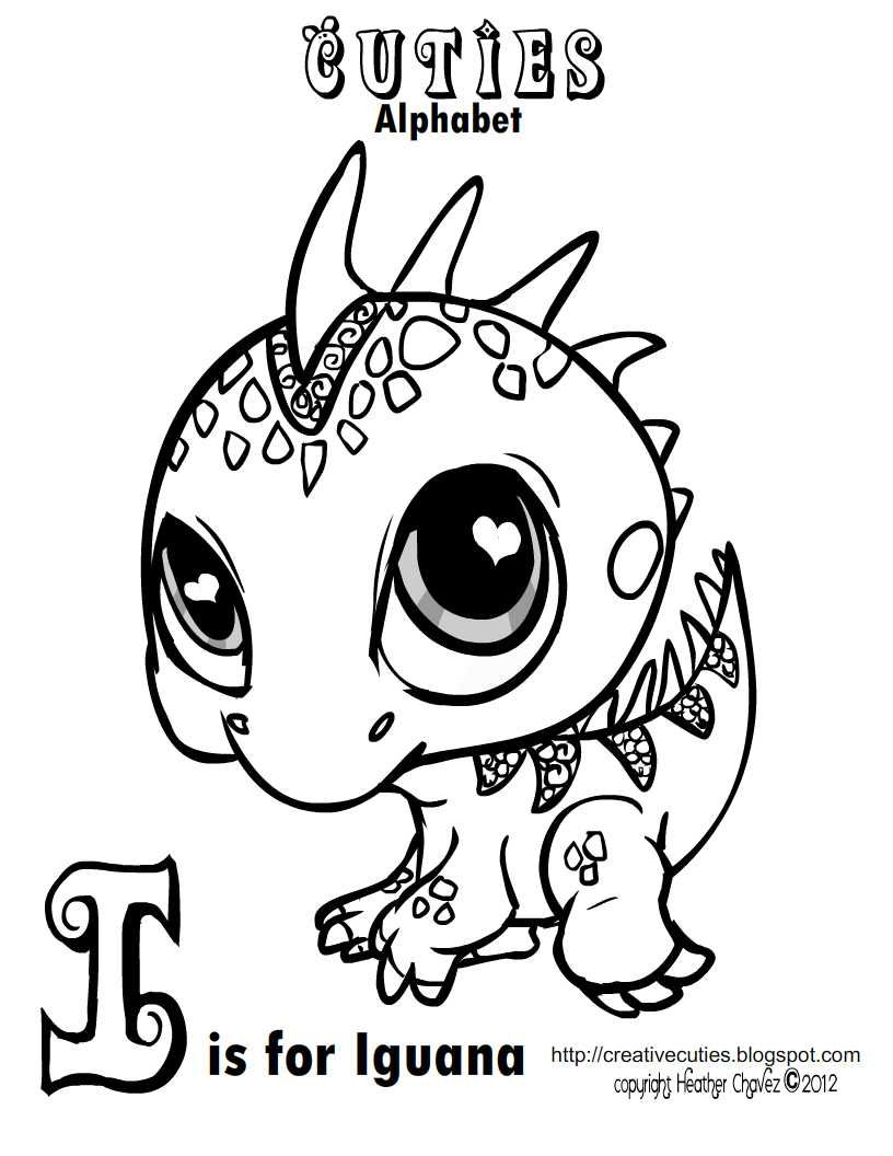 Creative Cuties Iguana Coloring Page Cuties Kopier Pinterest