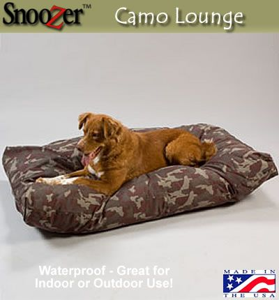 Water Resistant Camo Lounger will suit all your outdoor dog bed     Water Resistant Camo Lounger will suit all your outdoor dog bed needs from the  dog house