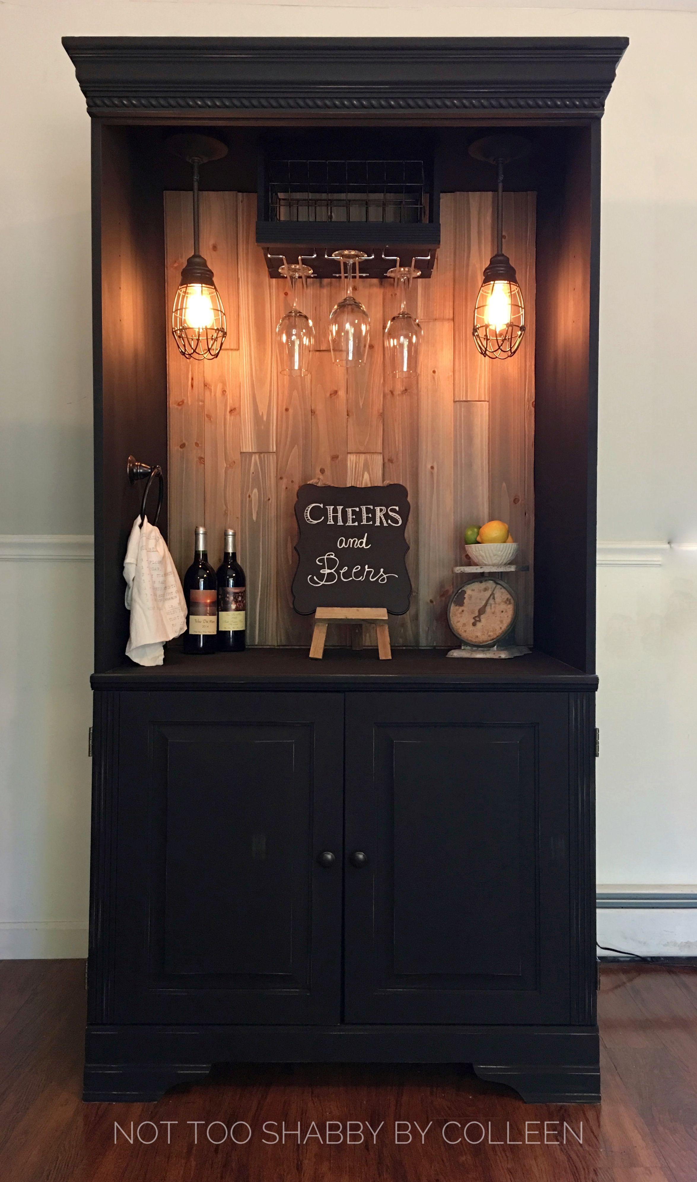 Upcycled Repurposed Armoire Converted Into A Dry Bar