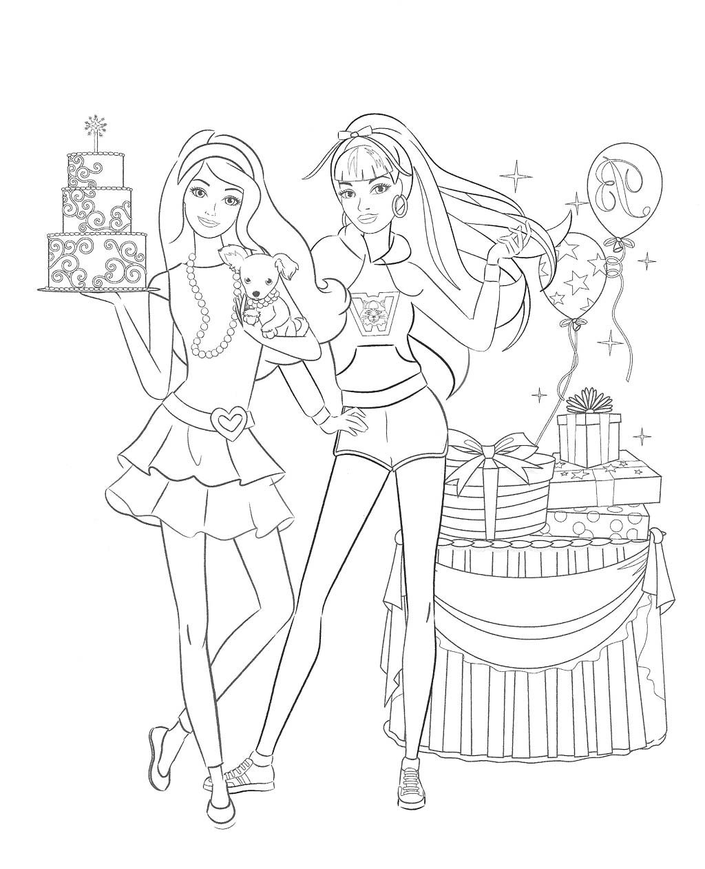 Barbie Doll Birthday Coloring Pages Kids Coloring Pages