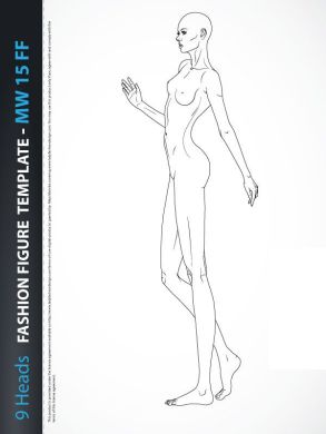 Full body poses Archives   Lady Fashion Design   Sketch   Pinterest     9 Heads Fashion Figure Template  includes fashion figure from the side  view  Template has all body details