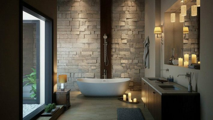 30 incredible contemporary bathroom ideas   Shower tub  Tubs and     irresistibly smooth and balanced fixtures centered the wall small bathroom  designs refurbishing space