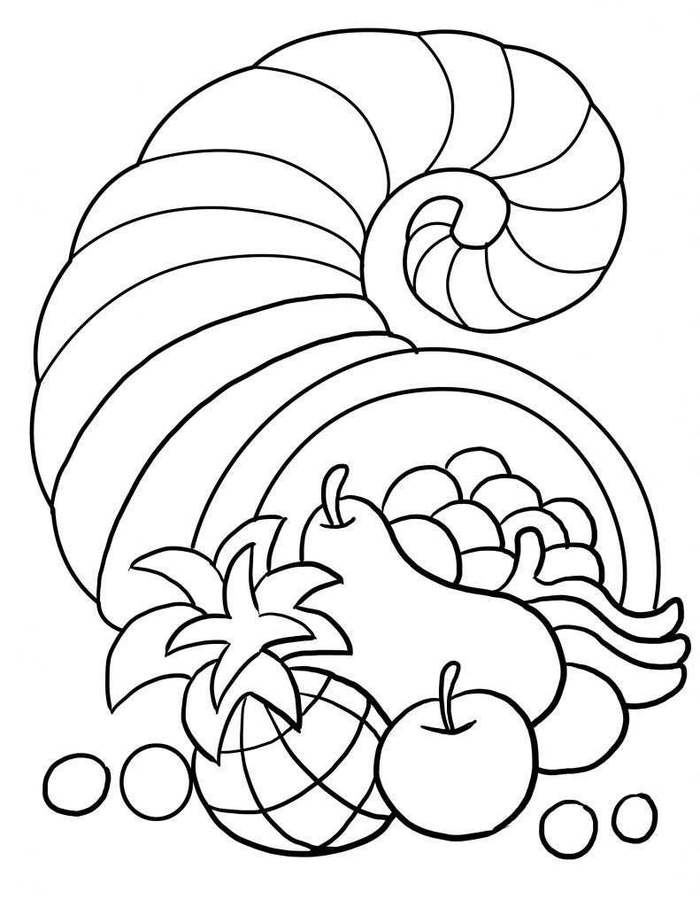 Thanksgiving Cornucopia Coloring Page Kids Create Pinterest
