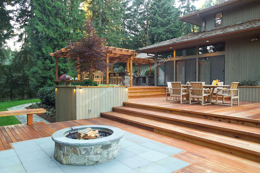 Decks Plans With Firepits Fire Pit Wood Deck Protection