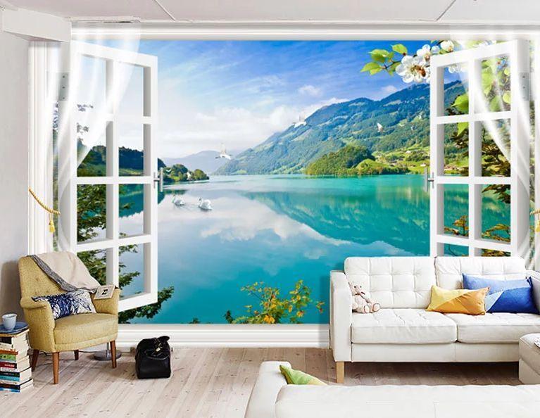 3D Landscape-Fenster Fototapeten Wandbild Fototapete Bild Tapete Familie Kinder Tapeten