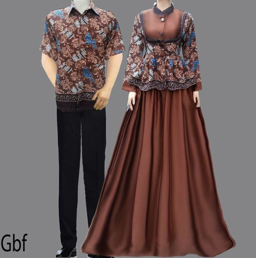 Model Gamis Cantik Baju Gamis Batik Sarimbit Coklat Fashion Pinterest Fashion Couple And