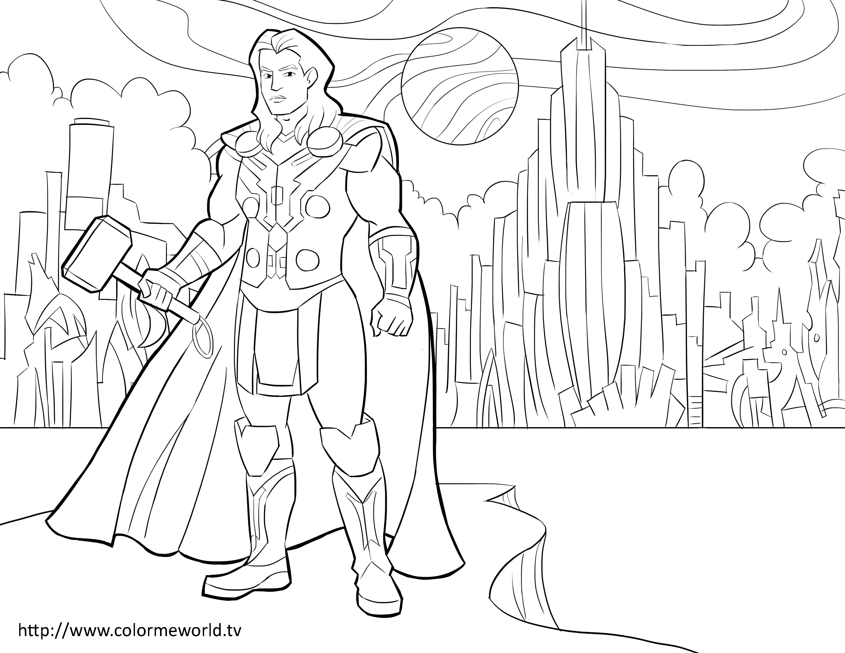 Thor Pdf Printable Coloring Page Avengers Coloring Pinterest