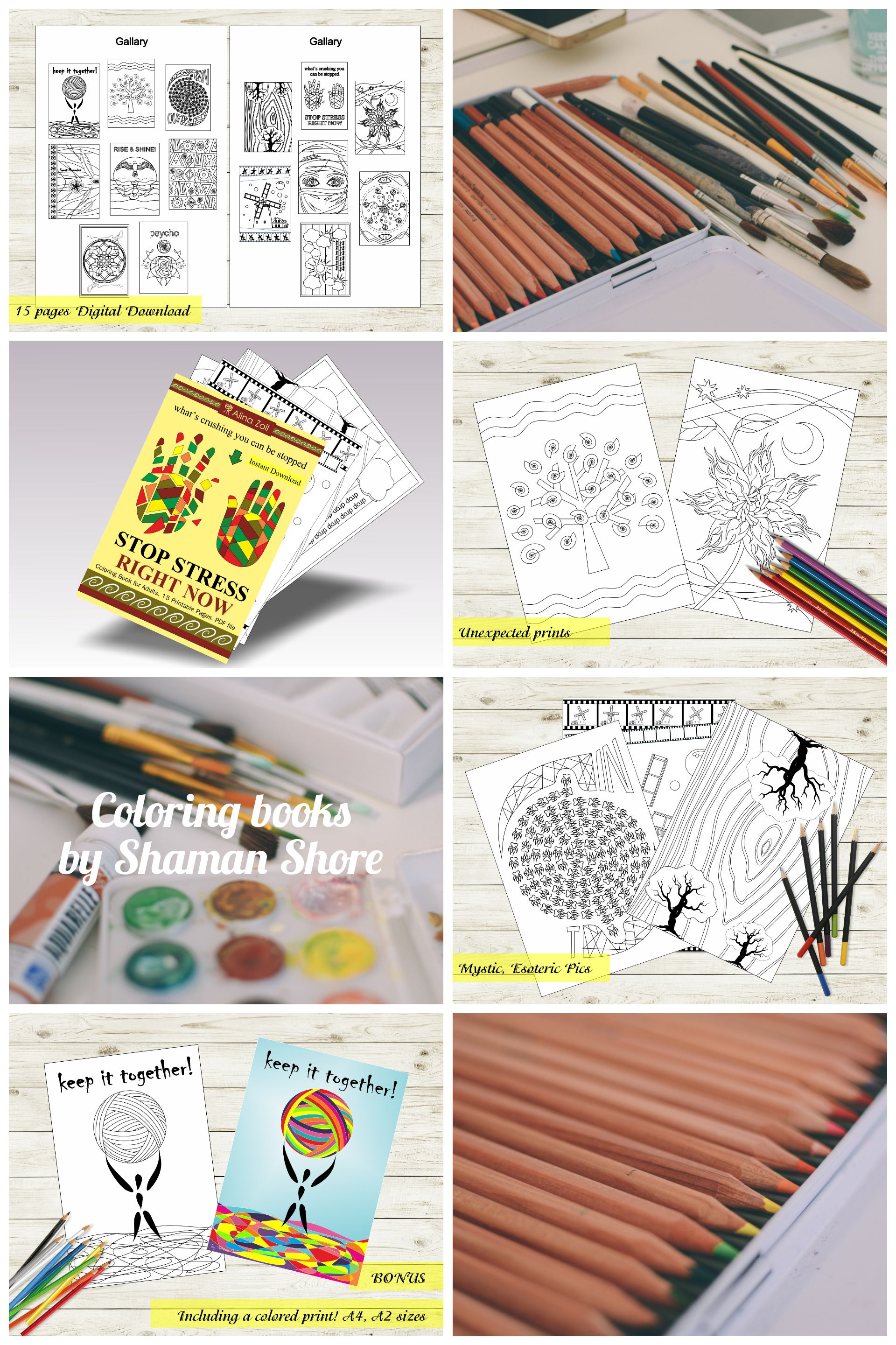 Digital Coloring Book Stress Reliever Art Therapy Adult Coloring