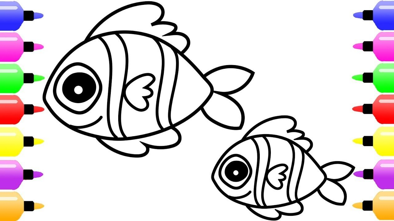 How To Draw Fish And Baby Fish For Kids Art Coloring Page For