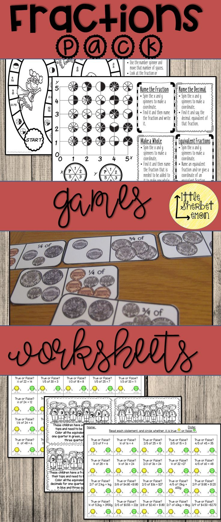 Fractions Worksheets and Games Pack   Worksheets  Game boards and     Fractions Worksheets and Games Pack   Worksheets  Game boards and Teaching  ideas