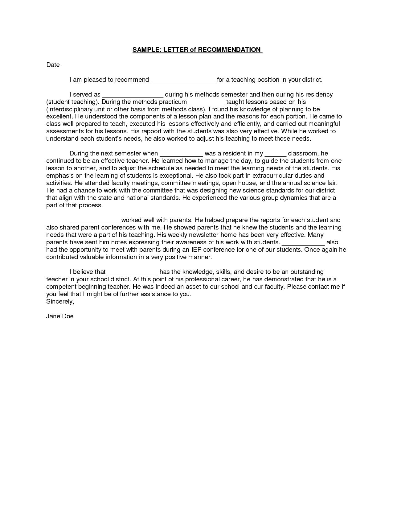Teacher Recommendation Letter A Letter Of Recommendation