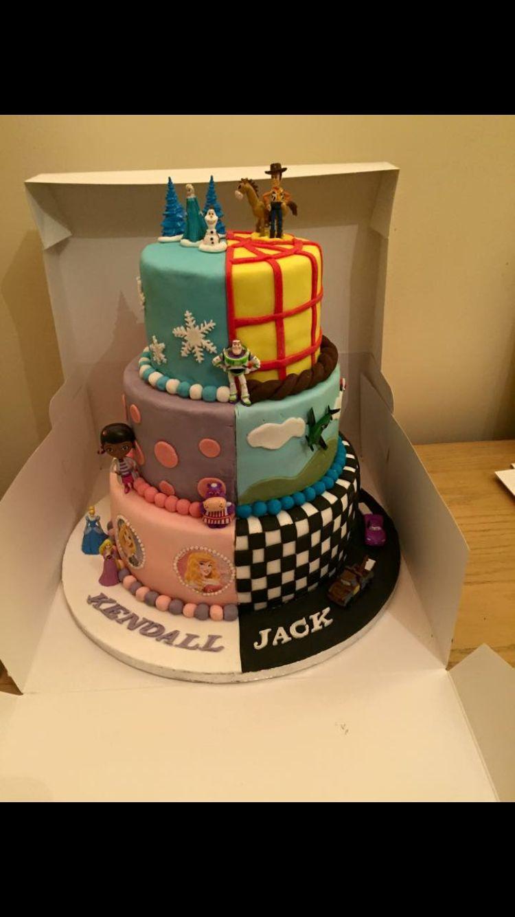 Half Boy And Half Girl Cake 4th Birthday Pinterest