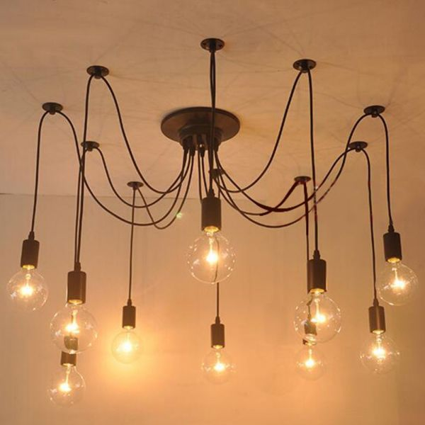 10 12 14 Heads Mordern Retro Edison Bulb Light Chandelier Vintage     Cheap Buy Quality diy directly from China head Suppliers  Heads Mordern  Retro Edison Bulb Light Chandelier Vintage Loft Antique DIY Art Spider  Ceiling Lamp
