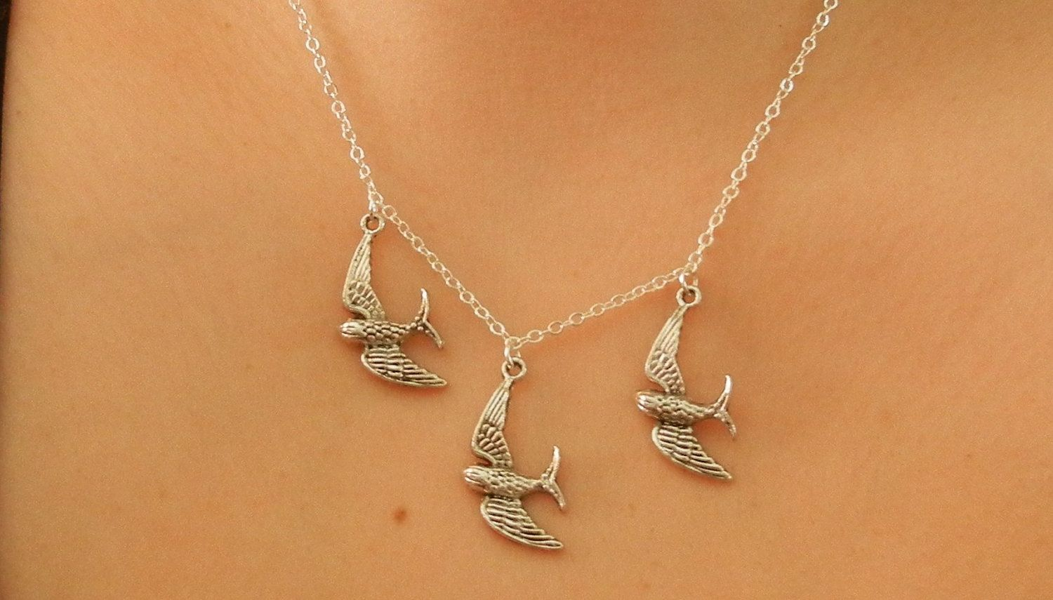 Divergent Tris three flying bird tattoo Necklace. $17.00 ...