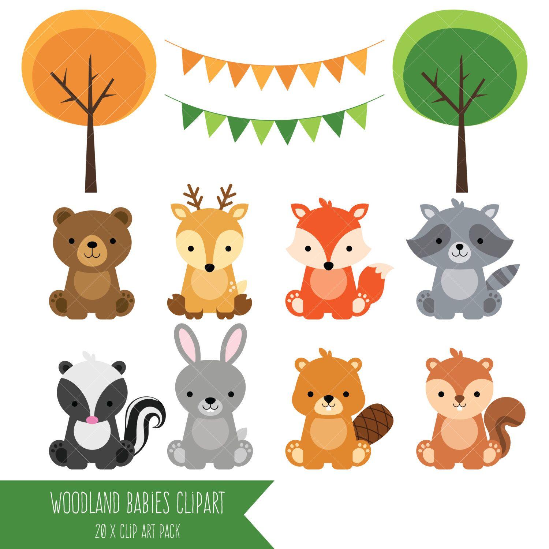Woodland bébé animaux Clipart / forêt Clipart Animal ...