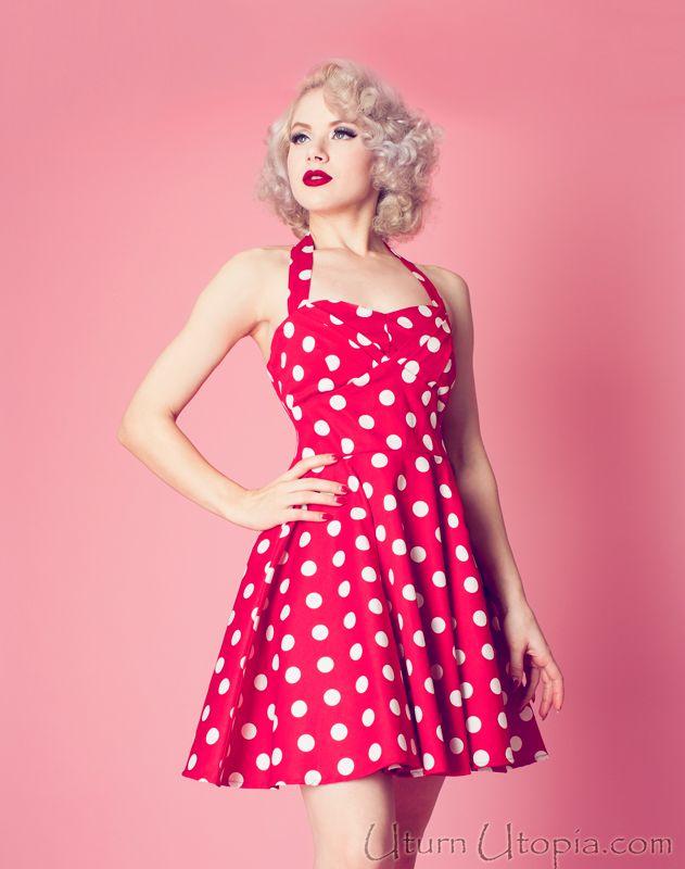 Red Polka Dot Vintage Style Halter Dress / Pin Up ...