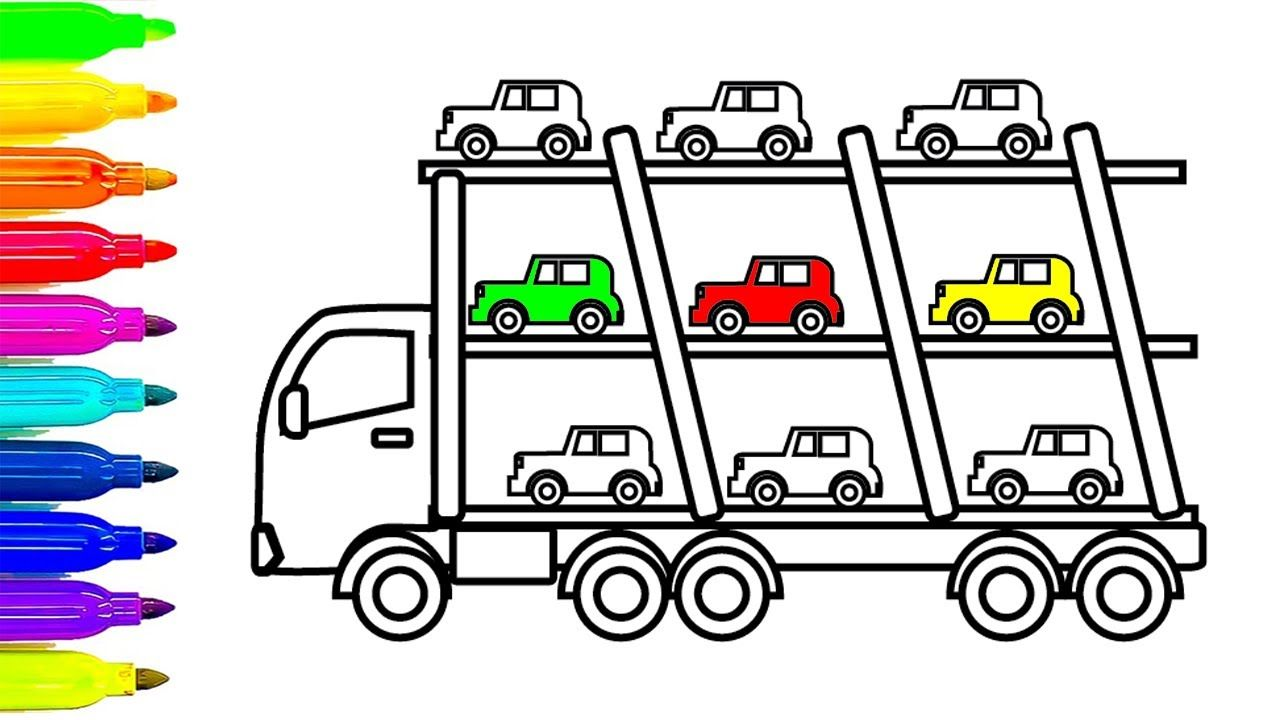 Learn Colors For Kids With Car And Truck Coloring Pages Fun