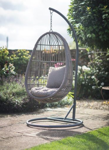 Our All weather Rattan Nest Chair comes with its own stand  allowing     Our All weather Rattan Nest Chair comes with its own stand  allowing you to