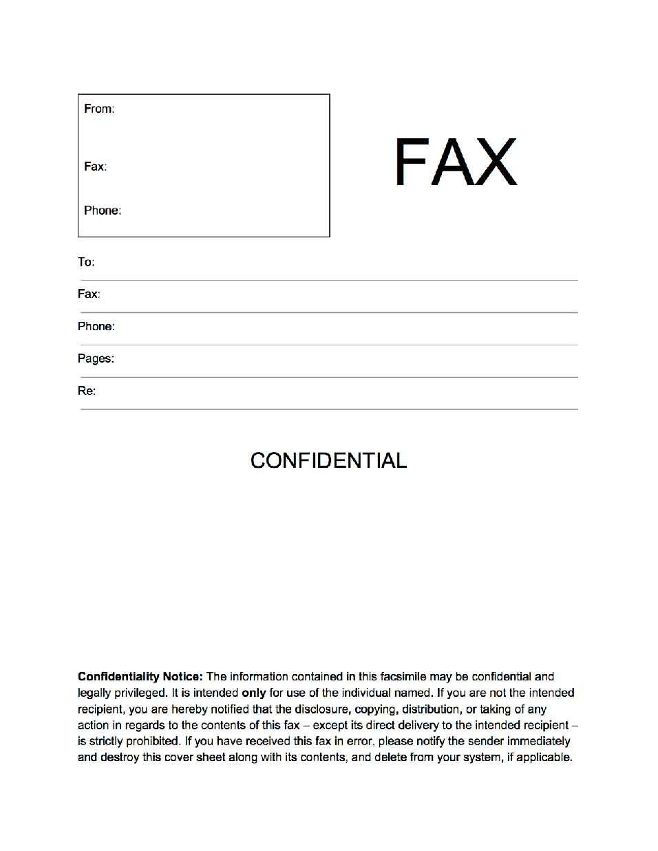 generic fax cover sheet – Free Fax Cover Letters