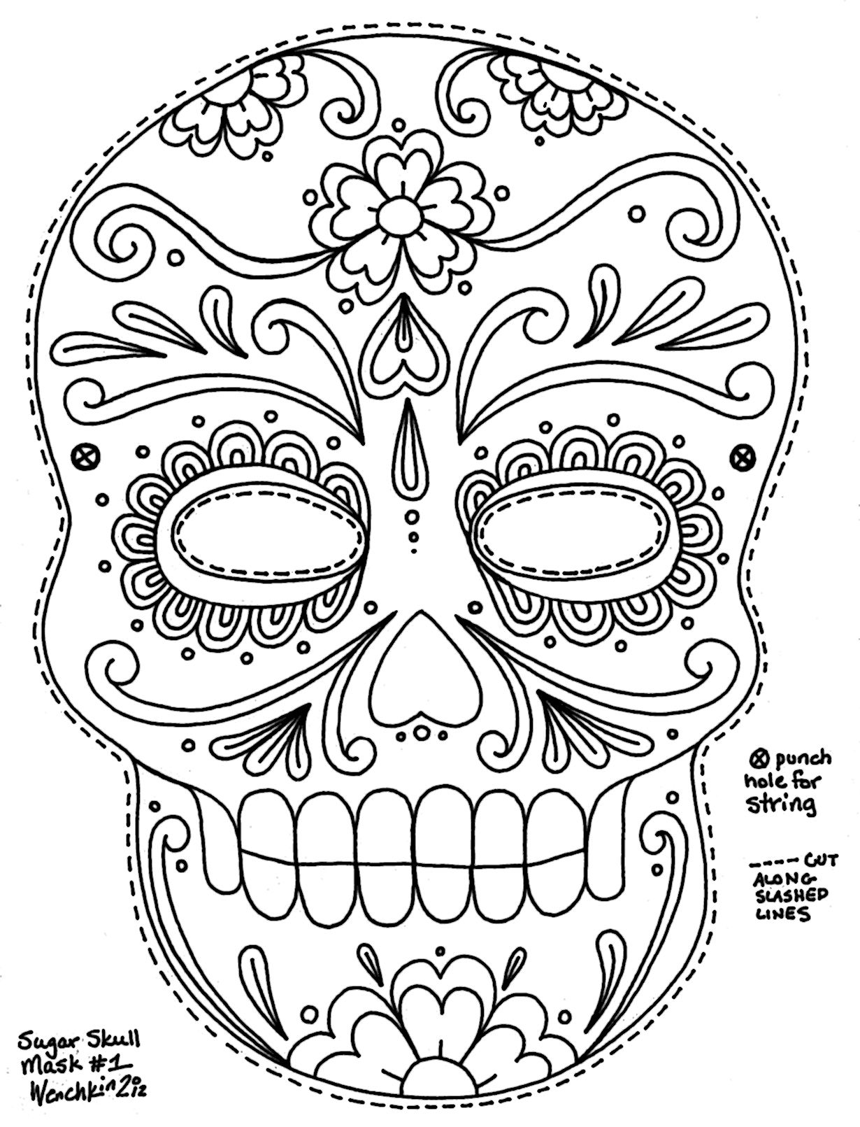 Sugar Skull Coloring Pages To Print Coloring Pages Pinterest