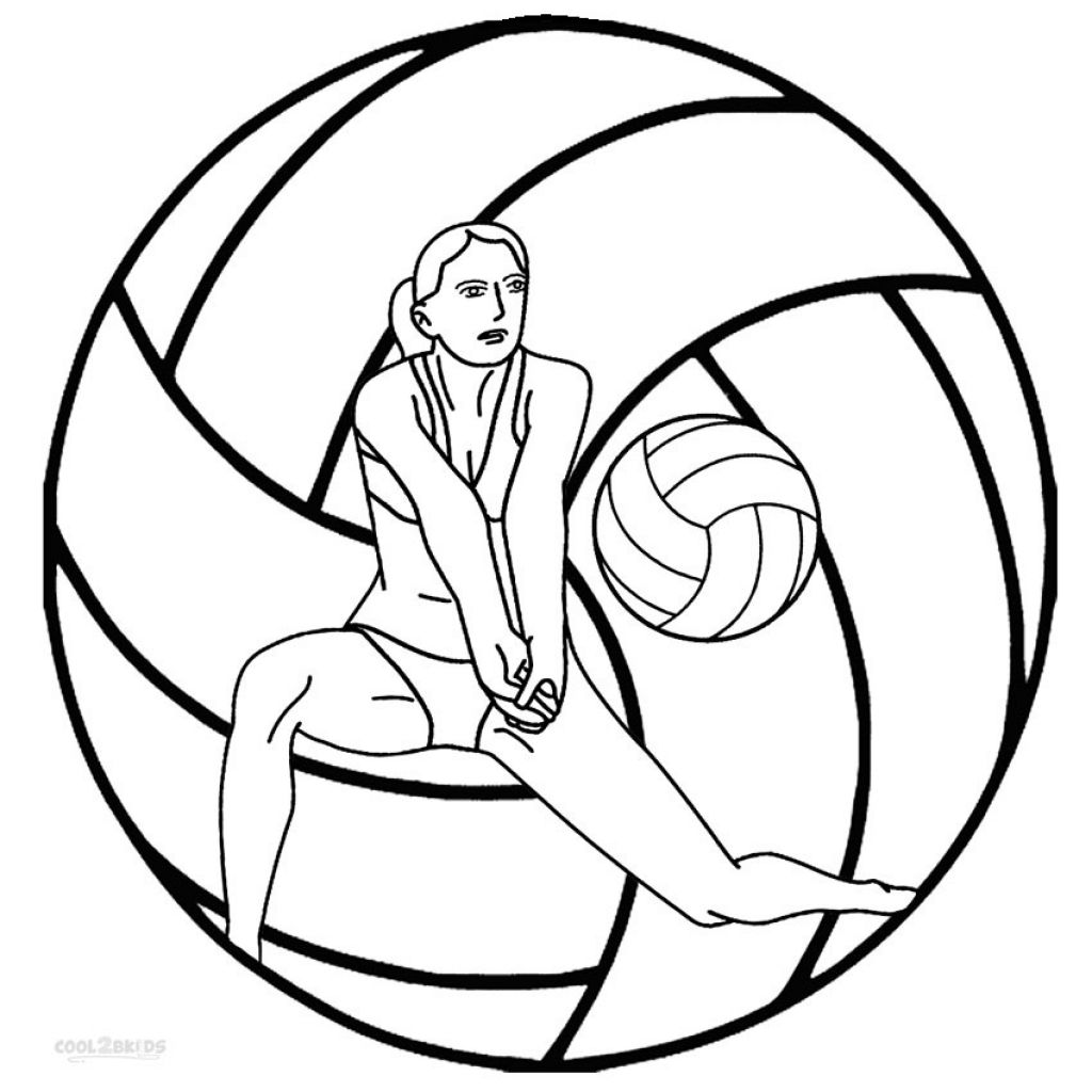 Printable Coloring Sheet Of Volleyball Online Sports Coloring
