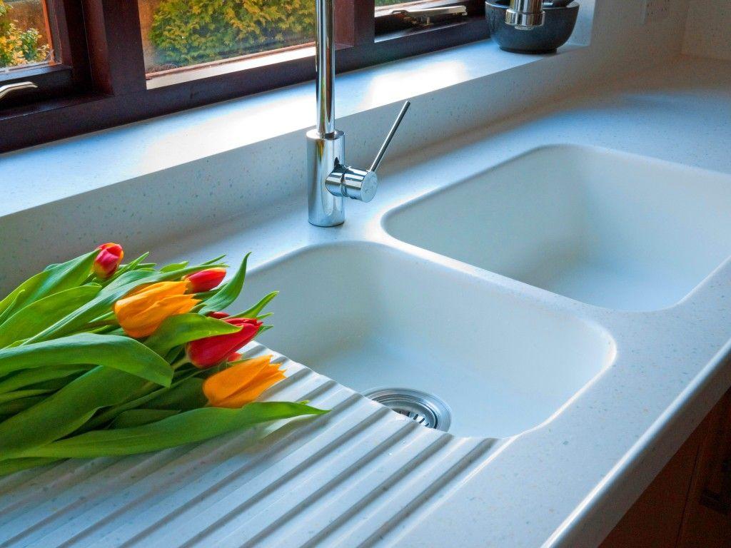 873 Corian Sink In Glacier White Worktops Are Whitecap