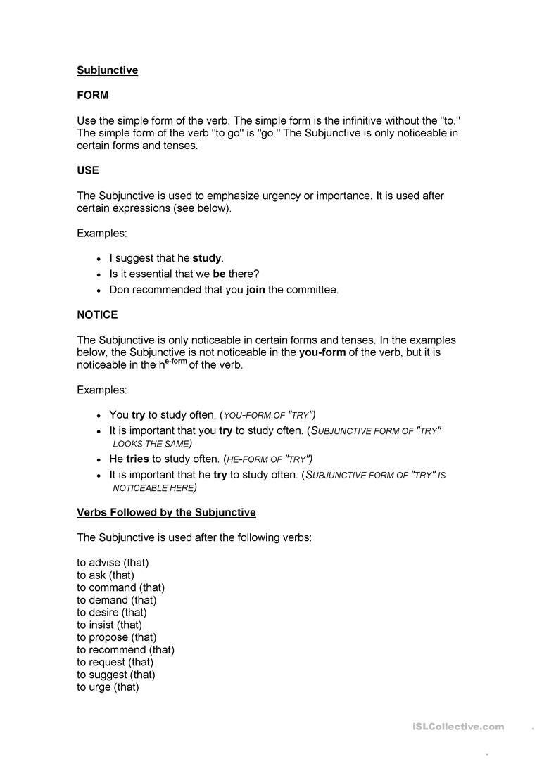 Subjuntive Simple M Subjunctive Mood P Terest Plete