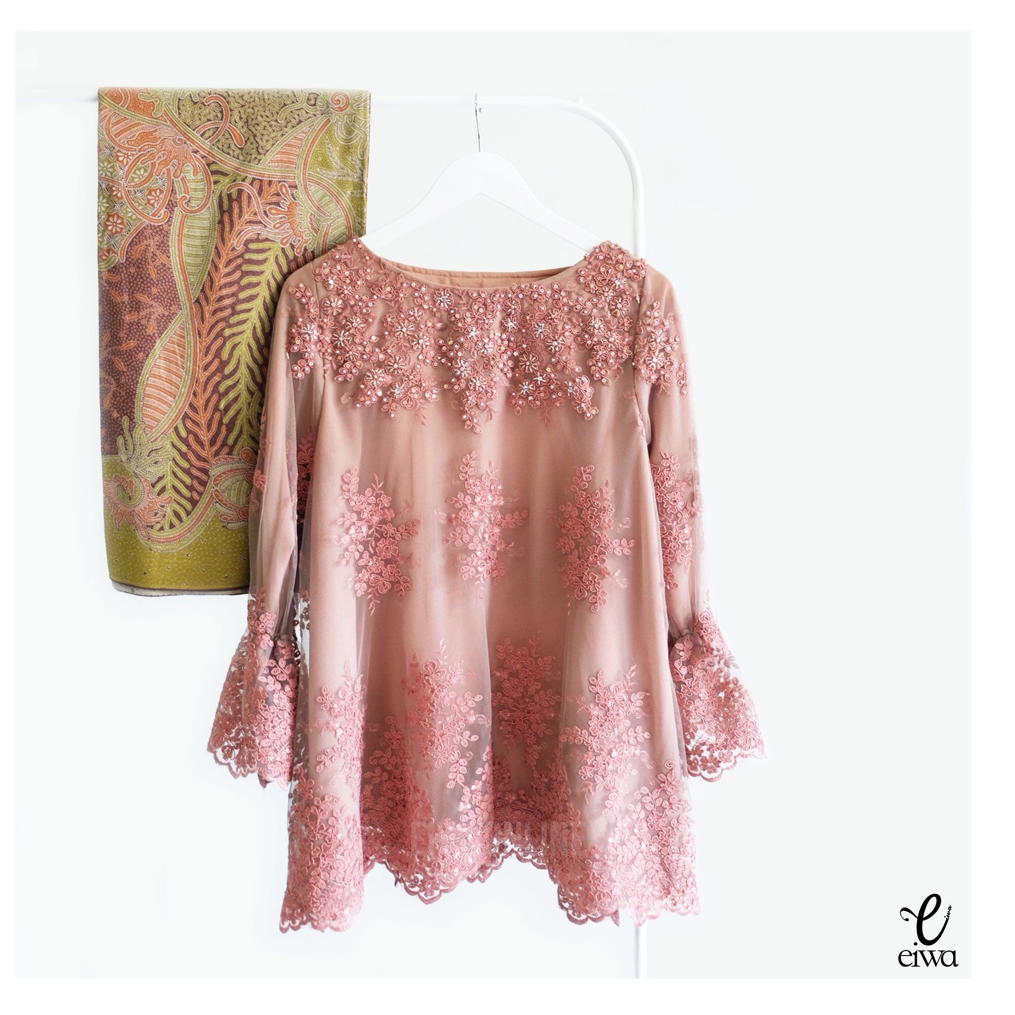 Kebaya Indonesia Modern Lace Top Brokat Cornelly Tulle Tile Long Sleeve Baju Bodo Ig