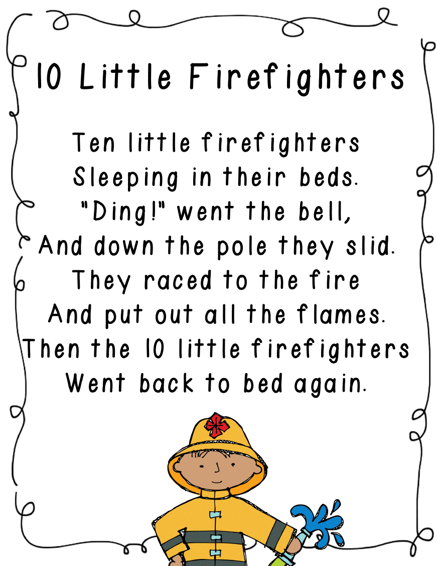 10 Little Firefighters Poem Munity Helpers Unit