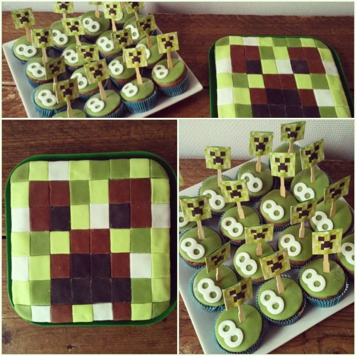 Minecraft Birthday Cake For A 8 Year Old Boy Cupcakes