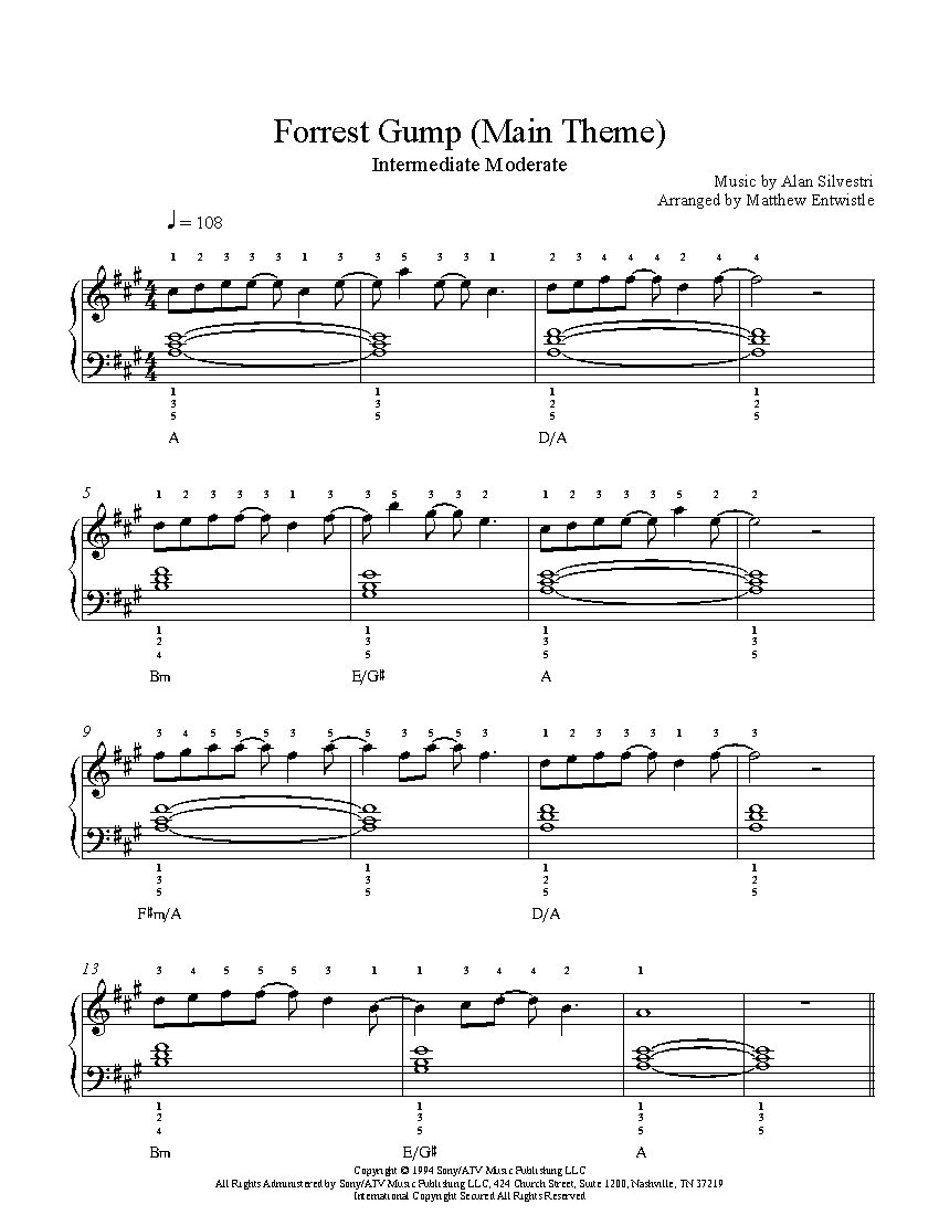 Rest Gump M Title By L N Silvestri Pi No Sheet Music