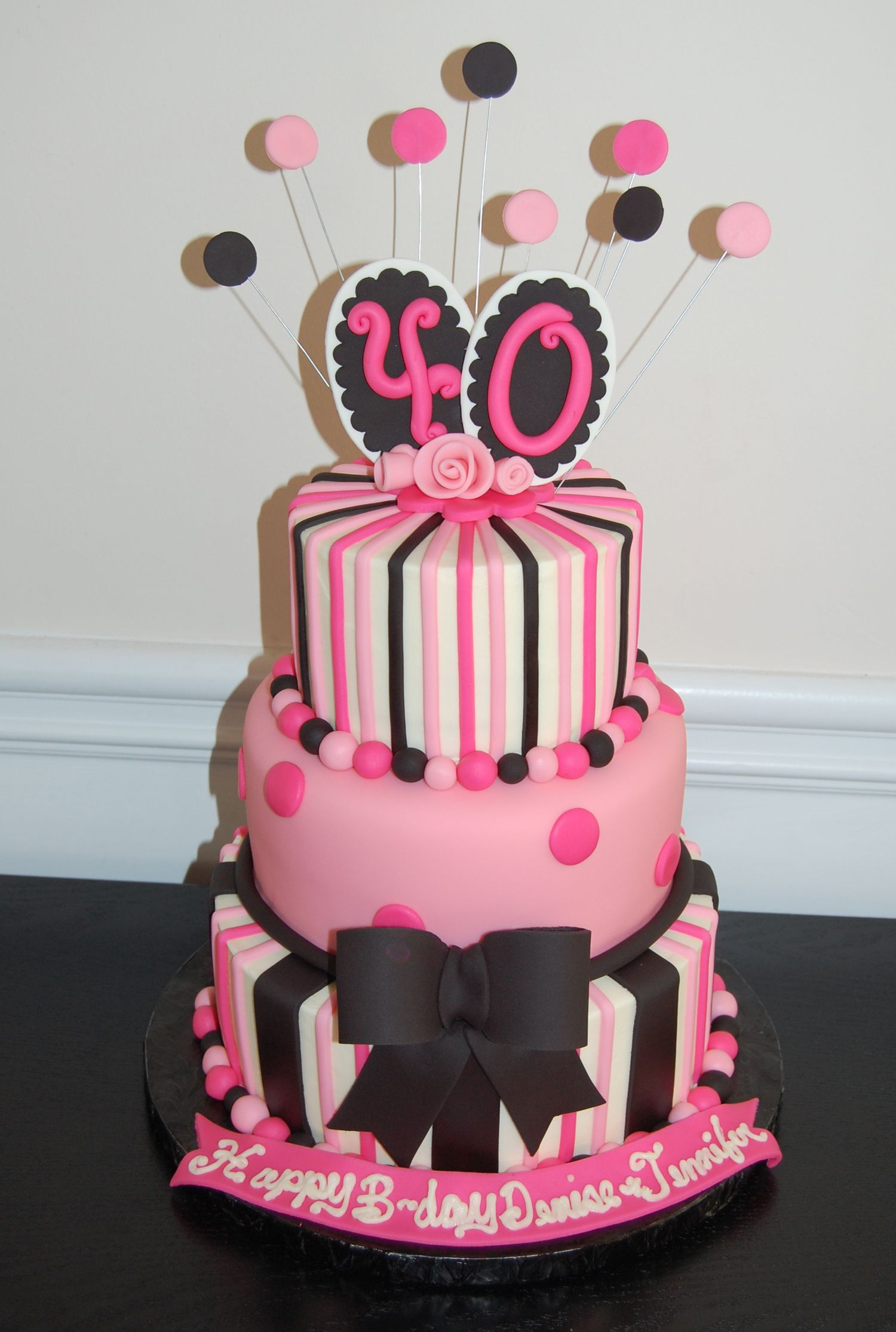 40th Birthday Cake Pink And Black 40th Birthday Cake In
